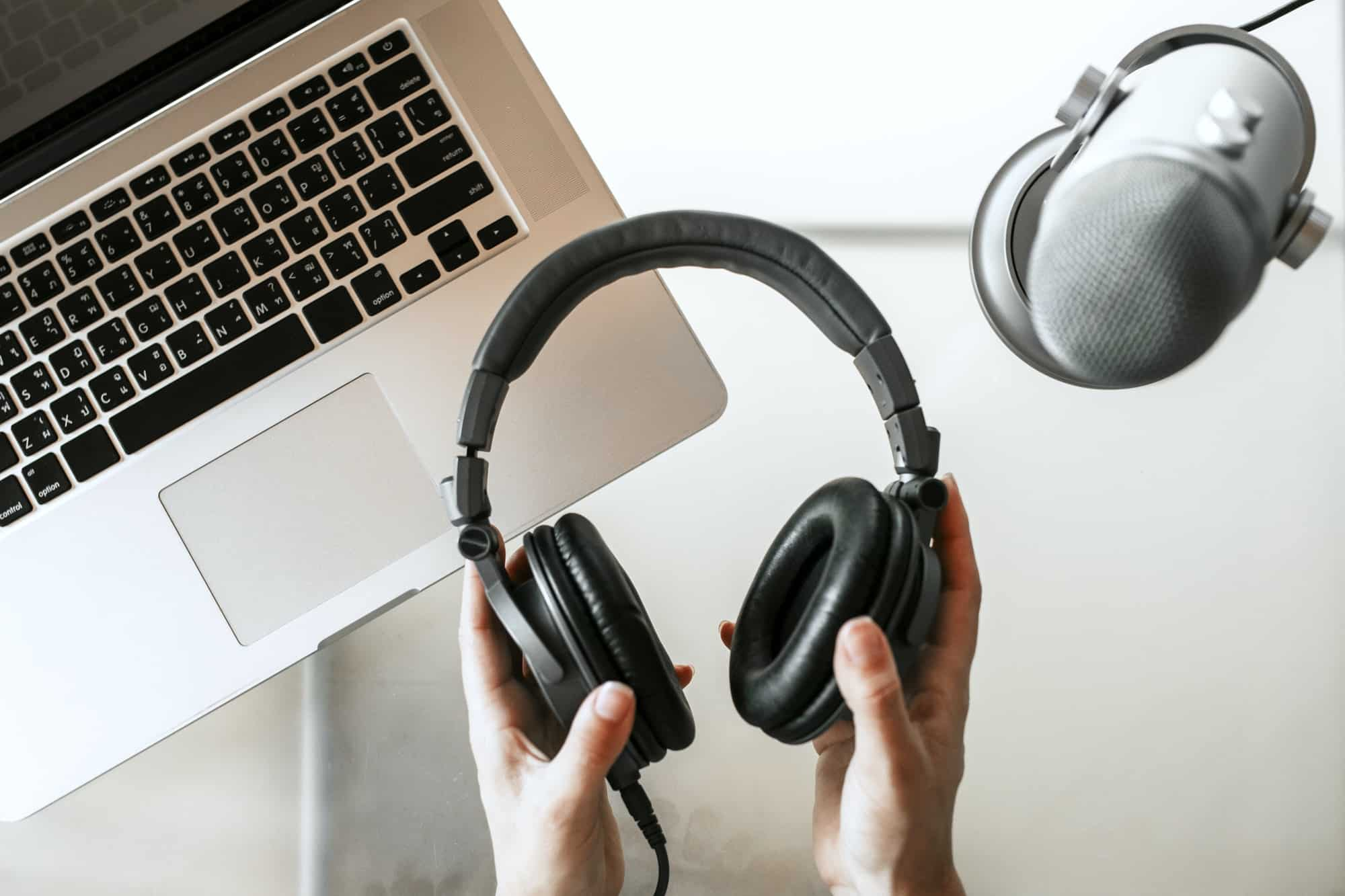 Woman recording her own podcast